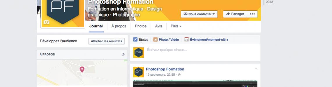 La page Facebook de Photoshop Formation