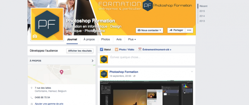 La page Facebook de Photoshop Formation